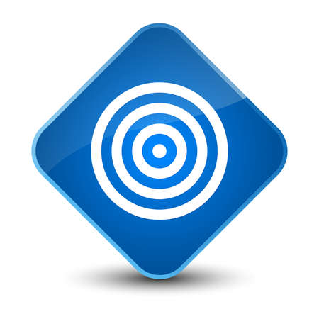 Target icon isolated on elegant blue diamond button abstract illustration Stock Photo