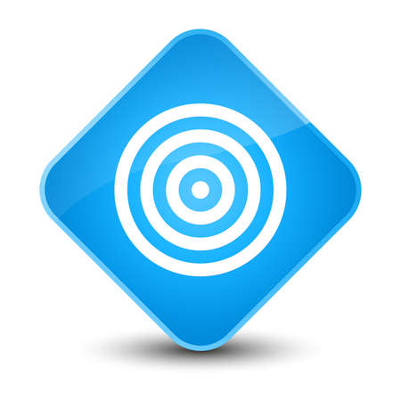 Target icon isolated on elegant cyan blue diamond button abstract illustration Stock Photo