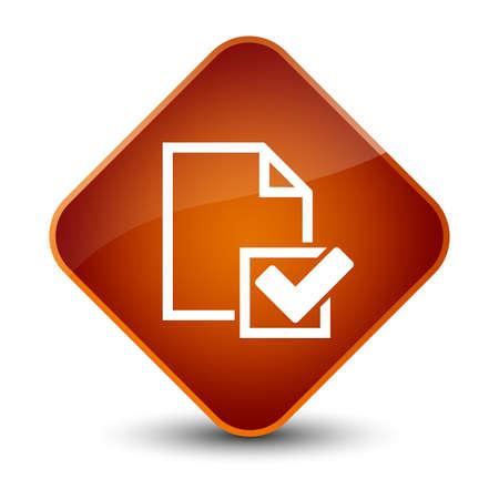 Checklist icon isolated on elegant brown diamond button abstract illustration Stock Photo