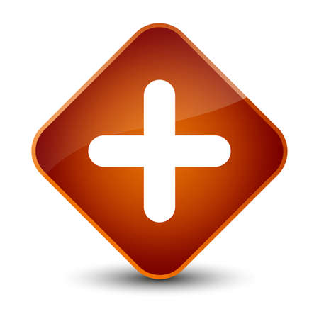 cross: Plus icon isolated on elegant brown diamond button abstract illustration