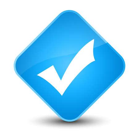validation: Validation icon isolated on elegant cyan blue diamond button abstract illustration