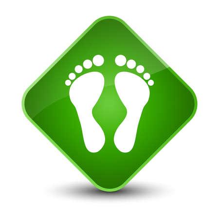 Footprint icon isolated on elegant green diamond button abstract illustration