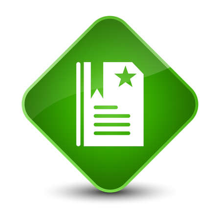 Bookmark icon isolated on elegant green diamond button abstract illustration