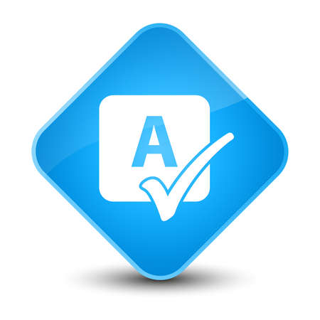 reviews: Spell check icon isolated on elegant cyan blue diamond button abstract illustration