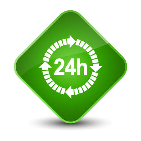 24 hours delivery icon isolated on elegant green diamond button abstract illustration Stock Photo
