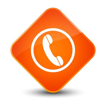 diamond: Phone icon isolated on elegant orange diamond button abstract illustration