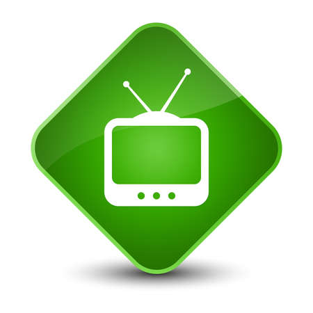 screen: TV  icon isolated on elegant green diamond button abstract illustration Stock Photo