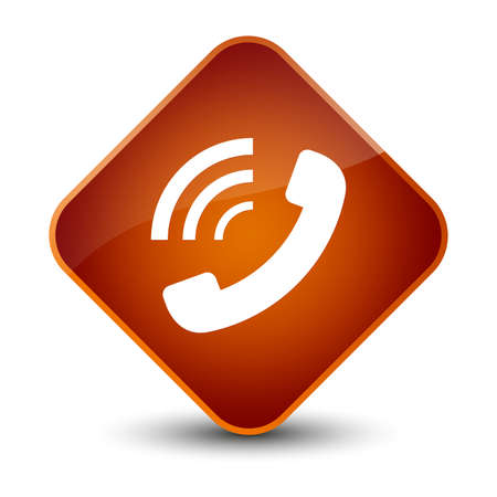 Phone ringing icon isolated on elegant brown diamond button abstract illustration Stock Photo