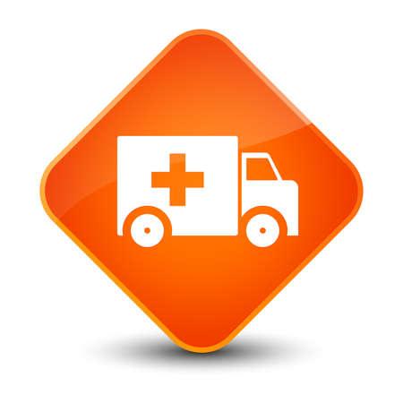 Ambulance icon isolated on elegant orange diamond button abstract illustration Stock Photo