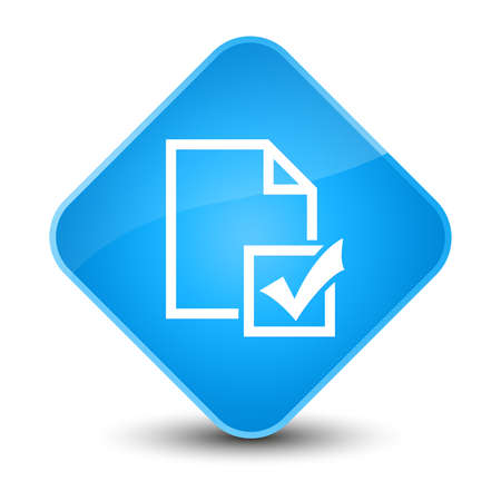 Survey icon isolated on elegant cyan blue diamond button abstract illustration