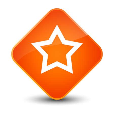 diamond: Star icon isolated on elegant orange diamond button abstract illustration
