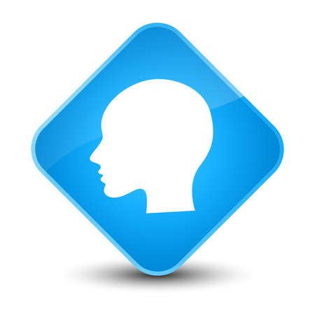 people icon: Head woman face icon isolated on elegant cyan blue diamond button abstract illustration Stock Photo
