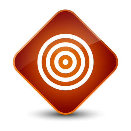 dartboard: Target icon isolated on elegant brown diamond button abstract illustration