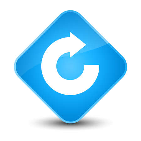 Reply arrow icon isolated on elegant cyan blue diamond button abstract illustration