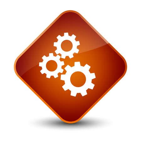 cogwheel: Gears icon isolated on elegant brown diamond button abstract illustration Stock Photo