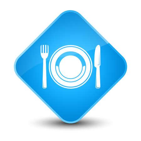 diamond plate: Food plate icon isolated on elegant cyan blue diamond button abstract illustration Stock Photo