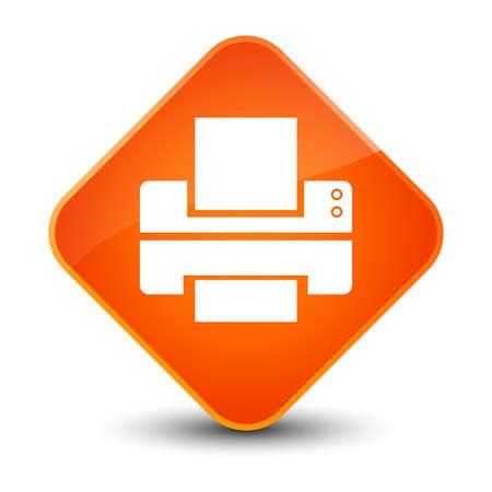 Printer icon isolated on elegant orange diamond button abstract illustration