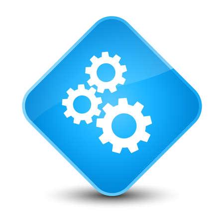 Gears icon isolated on elegant cyan blue diamond button abstract illustration Stock Photo