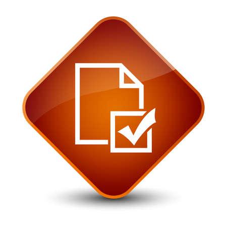 Survey icon isolated on elegant brown diamond button abstract illustration Stock Photo