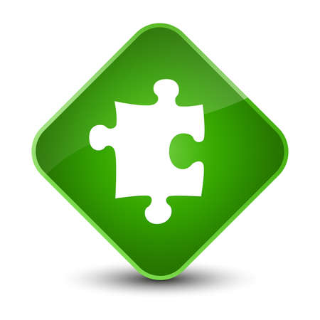 diamond: Puzzle icon isolated on elegant green diamond button abstract illustration