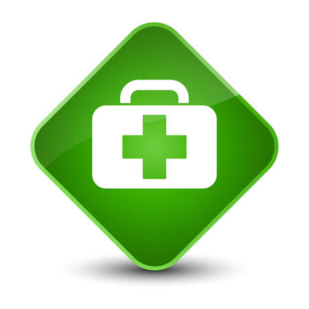 Medical bag icon isolated on elegant green diamond button abstract illustration