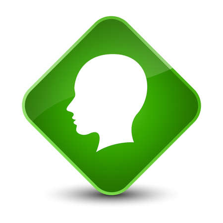Head female face icon isolated on elegant green diamond button abstract illustration Stock Photo