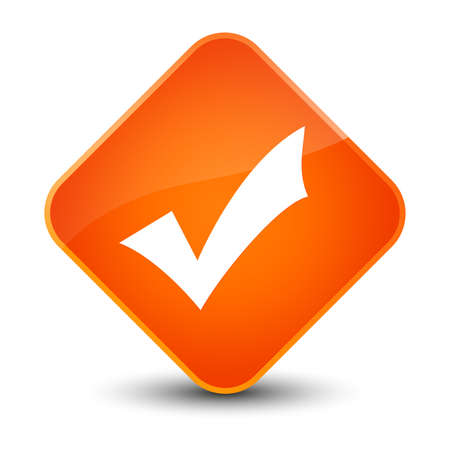 Validation icon isolated on elegant orange diamond button abstract illustration