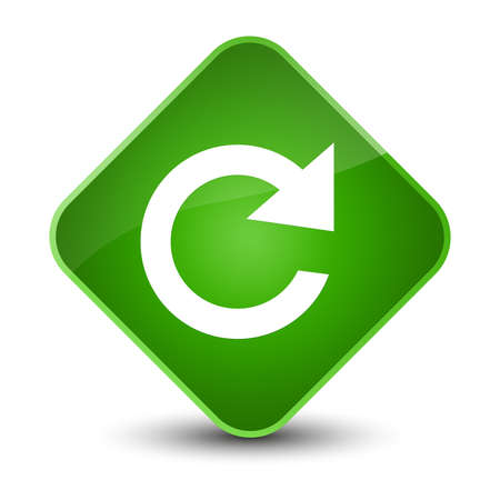 Reply rotate icon isolated on elegant green diamond button abstract illustration