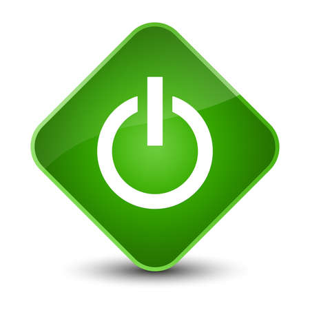 Power icon isolated on elegant green diamond button abstract illustration Stock Photo