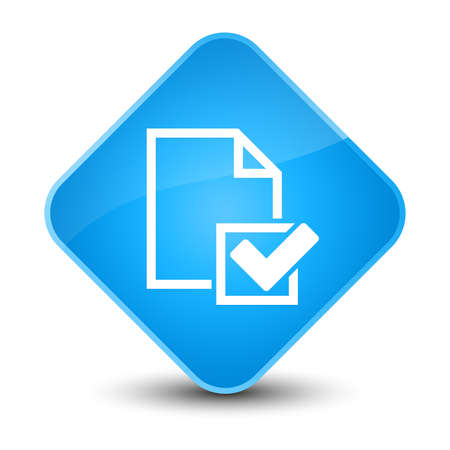 report icon: Checklist icon isolated on elegant cyan blue diamond button abstract illustration