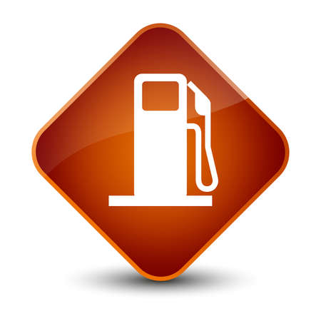 brown: Fuel dispenser icon isolated on elegant brown diamond button abstract illustration
