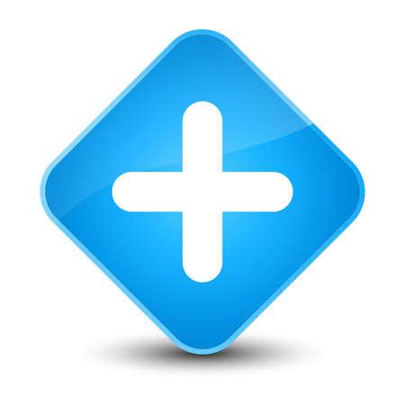 medical illustration: Plus icon isolated on elegant cyan blue diamond button abstract illustration Stock Photo