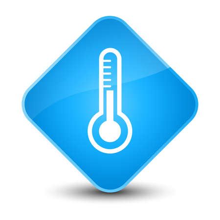 Thermometer icon isolated on elegant cyan blue diamond button abstract illustration Stock Photo