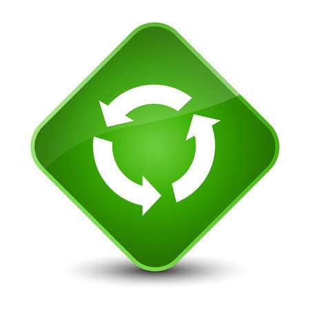 improving: Refresh icon isolated on elegant green diamond button abstract illustration