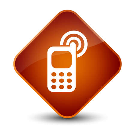 brown: Cellphone ringing icon isolated on elegant brown diamond button abstract illustration Stock Photo