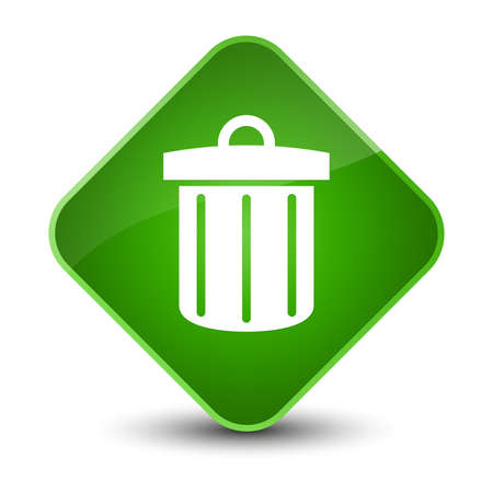 junk: Recycle bin icon isolated on elegant green diamond button abstract illustration