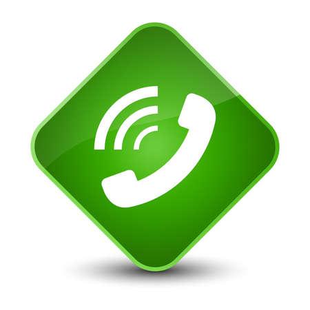 Phone ringing icon isolated on elegant green diamond button abstract illustration Stock Photo