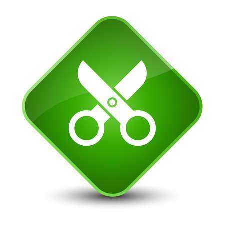 Scissors icon isolated on elegant green diamond button abstract illustration Stock Photo