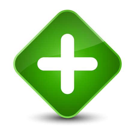 Plus icon isolated on elegant green diamond button abstract illustration