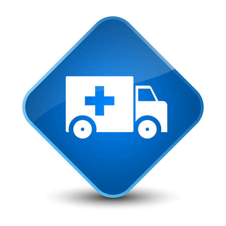 Ambulance icon isolated on elegant blue diamond button abstract illustration