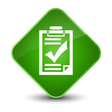 Checklist icon isolated on elegant green diamond button abstract illustration Stock Photo