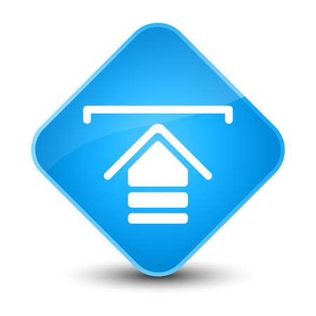 Upload icon isolated on elegant cyan blue diamond button abstract illustration Stock Photo