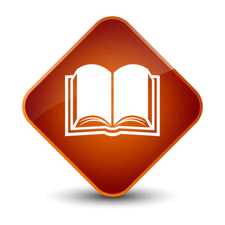 study: Book icon isolated on elegant brown diamond button abstract illustration