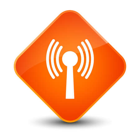 Wlan network icon isolated on elegant orange diamond button abstract illustration
