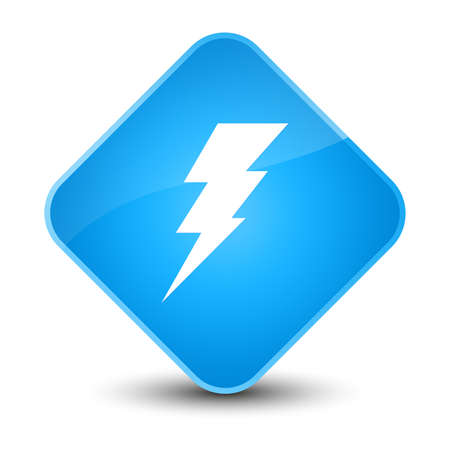 blue button: Electricity icon isolated on elegant cyan blue diamond button abstract illustration Stock Photo