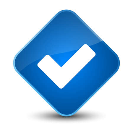 validate: Validate icon isolated on elegant blue diamond button abstract illustration