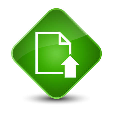 arrow icon: Upload document icon isolated on elegant green diamond button abstract illustration Stock Photo