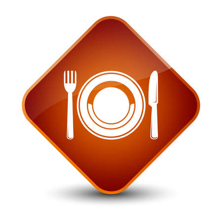 diamond plate: Food plate icon isolated on elegant brown diamond button abstract illustration
