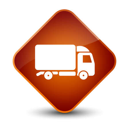 lorry: Truck icon isolated on elegant brown diamond button abstract illustration