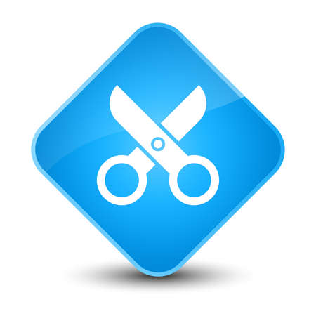blue button: Scissors icon isolated on elegant cyan blue diamond button abstract illustration
